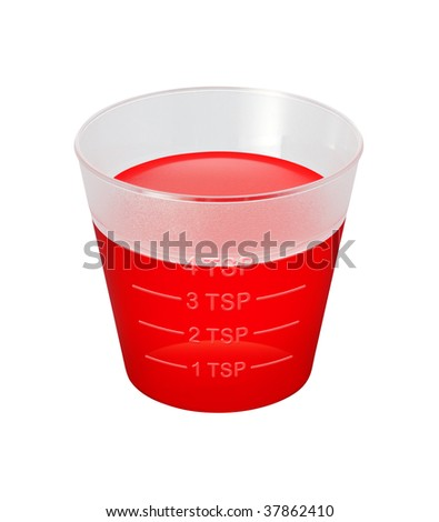 Cough Syrup Medicine Cup with a clipping path isolated on white.