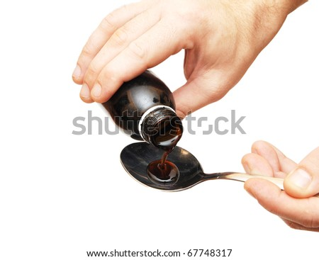 Cough syrup poured into a spoon on white