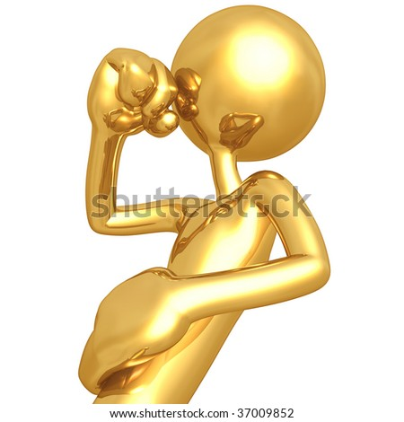 Coughing Gold Guy - stock photo