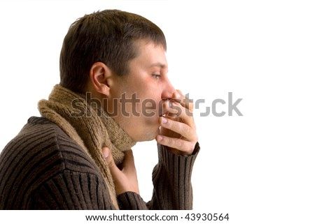 coughing sick man on a white background - stock photo