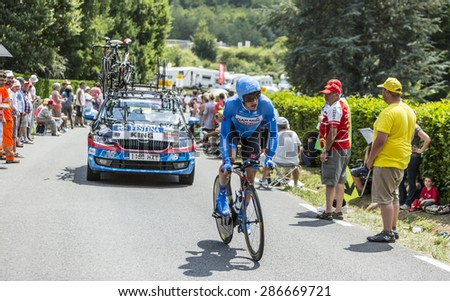COULOUNIEIX-CHAMIERS,FRANCE-JUL26: The American cyclist Benjamin King (Garmin-Sharp Team) pedaling during the stage 20 ( time trial Bergerac - Perigueux) of Le Tour de France 2014. - stock photo