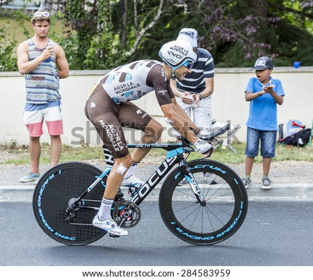 COULOUNIEIX-CHAMIERS,FRANCE-JUL26:The Italian cyclist Matteo Montaguti (Ag2r-La Mondiale Team) pedaling during the stage 20 ( time trial Bergerac - Perigueux) of Le Tour de France 2014.  - stock photo