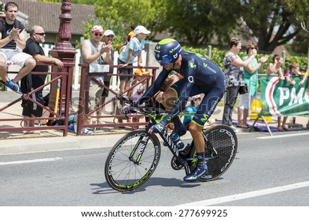 COULOUNIEIX-CHAMIERS,FRANCE-JUL26:The Spanish cyclist Ruben Plaza Molina (MovistarTeam) pedaling during the stage 20 ( time trial Bergerac - Perigueux) of Le Tour de France 2014. - stock photo
