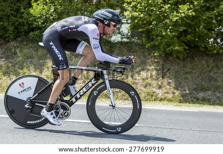 COULOUNIEIX-CHAMIERS,FRANCE-JUL26:The Swiss cyclist Gregory Rast (Trek Factory RacingTeam) pedaling during the stage 20 ( time trial Bergerac - Perigueux) of Le Tour de France 2014. - stock photo