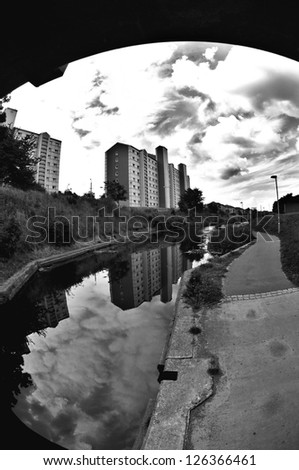 Council housing in a deprived area adjacent to the Union Canal, Edinburgh, Scotland. - stock photo