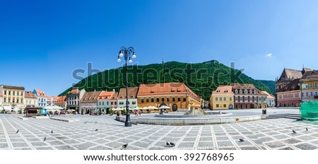 Council Square is historical center of city, people walking and sitting at outdoor terraces and restaurants. - stock photo