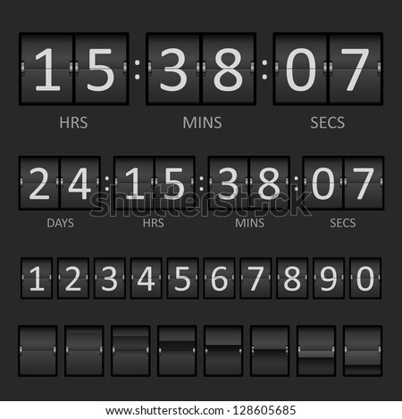 Countdown Timer and Scoreboard Numbers - stock photo