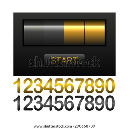 Countdown timer, black and gold scoreboard with different numbers - stock photo