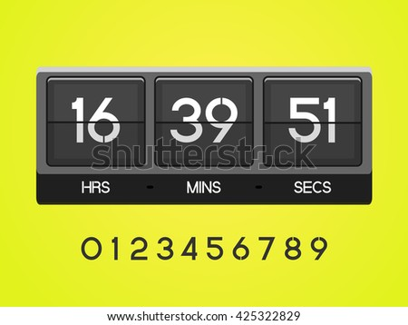 Countdown Timer for the website. Square section. Hours, minutes, seconds. yellow background.