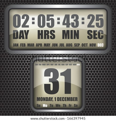 Countdown timer on octagon background - stock photo