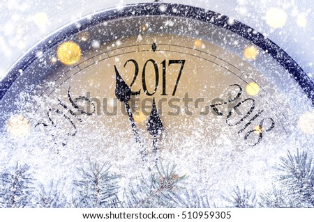 Countdown to midnight. Retro style clock counting last moments before Christmas or New Year 2017.