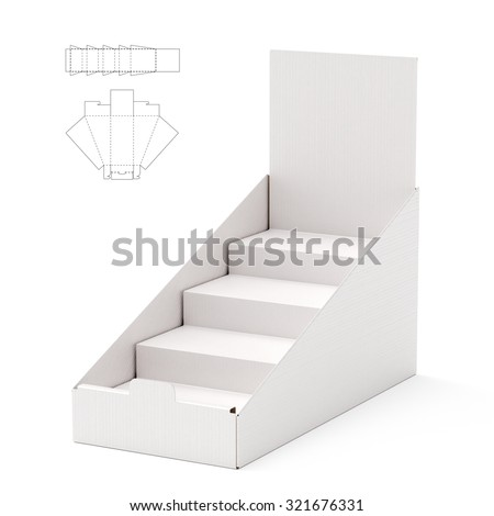 Counter Display Header Shelf Box with Die Line Template - stock photo