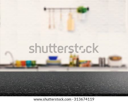 counter top with kitchen cabinet background - stock photo