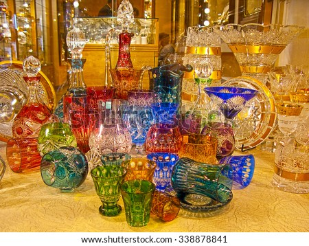 Counter with bohemian glass in Prague - stock photo