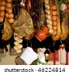 counter with hanging products at spring fair in barcelona, spain - stock photo
