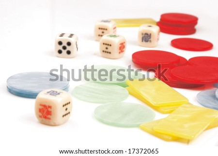 Counters casino cubes - stock photo