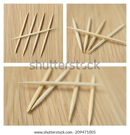 counting 5  by toothpick - stock photo