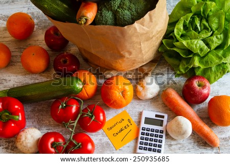 Counting calories, diet of  vegetables and fruits  - stock photo