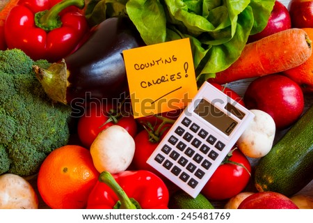 Counting calories, diet of  vegetables and fruits background  - stock photo