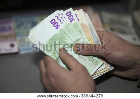 Counting Cash Money, Euro curency - stock photo