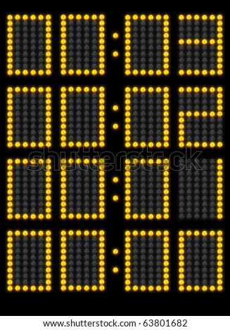 Counting down time left in a game on a scoreboard - stock photo