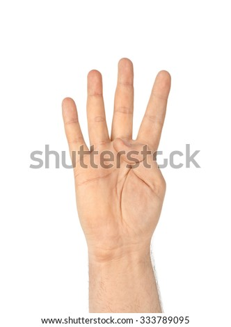 Counting hand - four - isolated on white background - stock photo