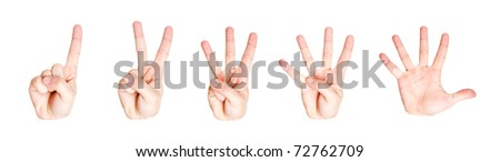 Counting hand signs from one to five. Isolated on white