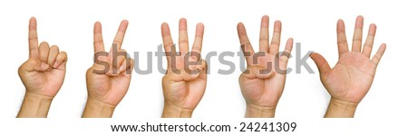 Counting Hands from one to five, isolated on white