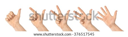 Counting hands (1 to 5) isolated on white background - stock photo