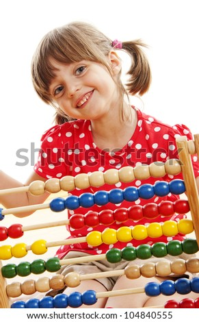 counting little girl - stock photo