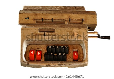 Counting machine isolated - model probably from sixties. - stock photo