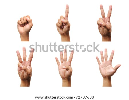 Counting man hands (0 to 5) isolated on white background - stock photo