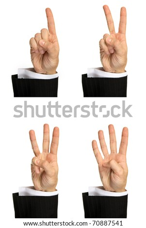 Counting men's hands (0 to 4) isolated on white background