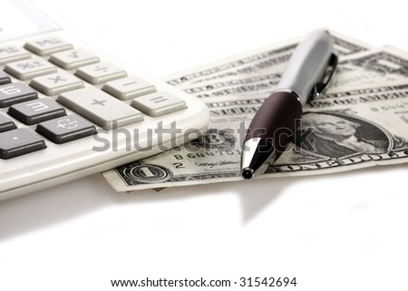 counting money against white background - stock photo