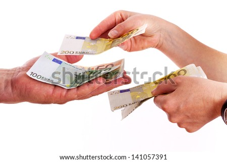 Counting money in hands - stock photo