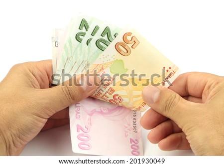 Counting money .Turkish banknotes. Turkish Lira ( TL ) - stock photo