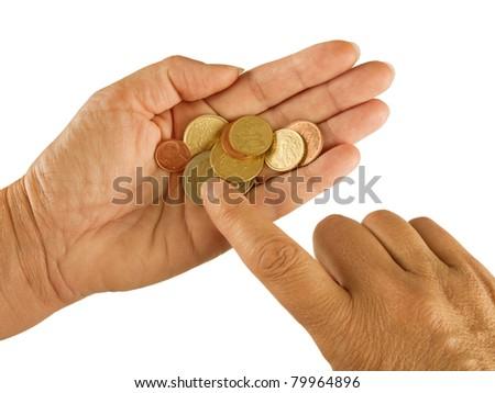 Counting small change aka coins - Euros, Eurozone crisis, poverty, hardship concept - stock photo