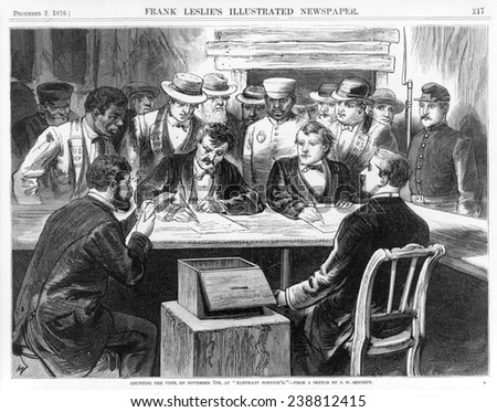 "Counting the vote, on November 7th, at ""Elephant Johnnie's"". 1876"
