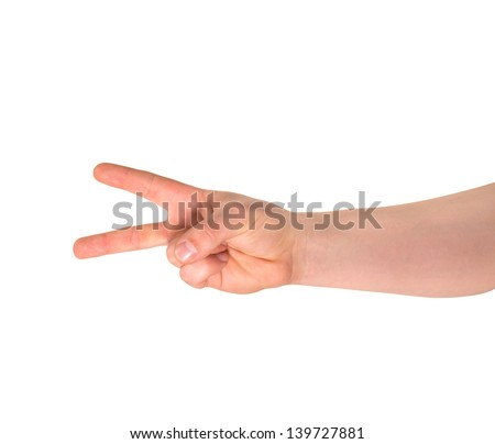 Counting: two finger sign as caucasian hand gesture isolated over white background - stock photo