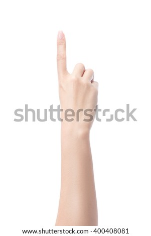 Counting woman hands one, number 1, isolated on white with clipping path - stock photo