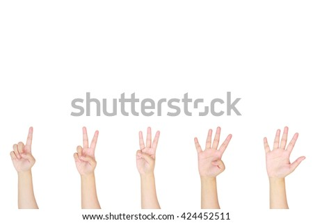counting woman hands sign isolated on white background - stock photo