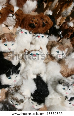 Countless row of kitty toys background