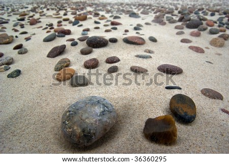 Countless stones on the beach.