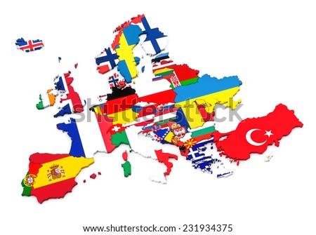 Countries of Europe. European flags. White background - stock photo