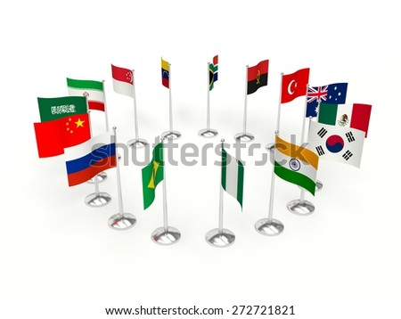 countries small Flags  in a circle. 3d illustration on a white background. - stock photo