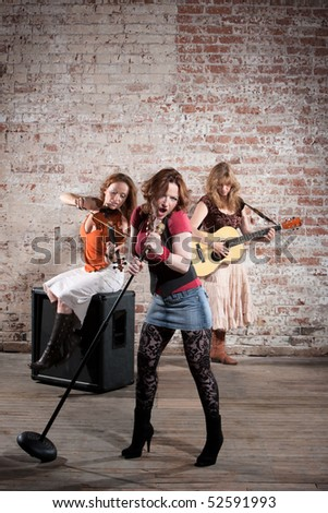 Country and western all girl band performing - stock photo
