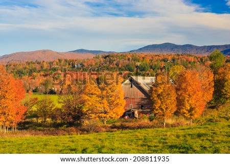 Country barn during fall foliage, Stowe, Vermont, USA - stock photo