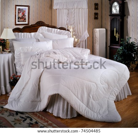 Country bed set with window and copy space (Studio SET) - stock photo