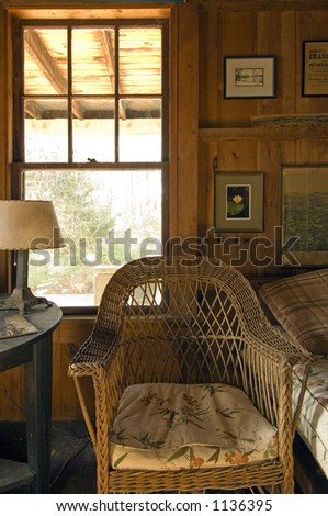Country bedrooms with a wicker chair