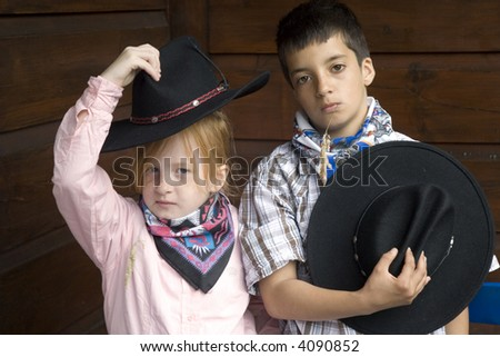 Country boy and -girl together - stock photo